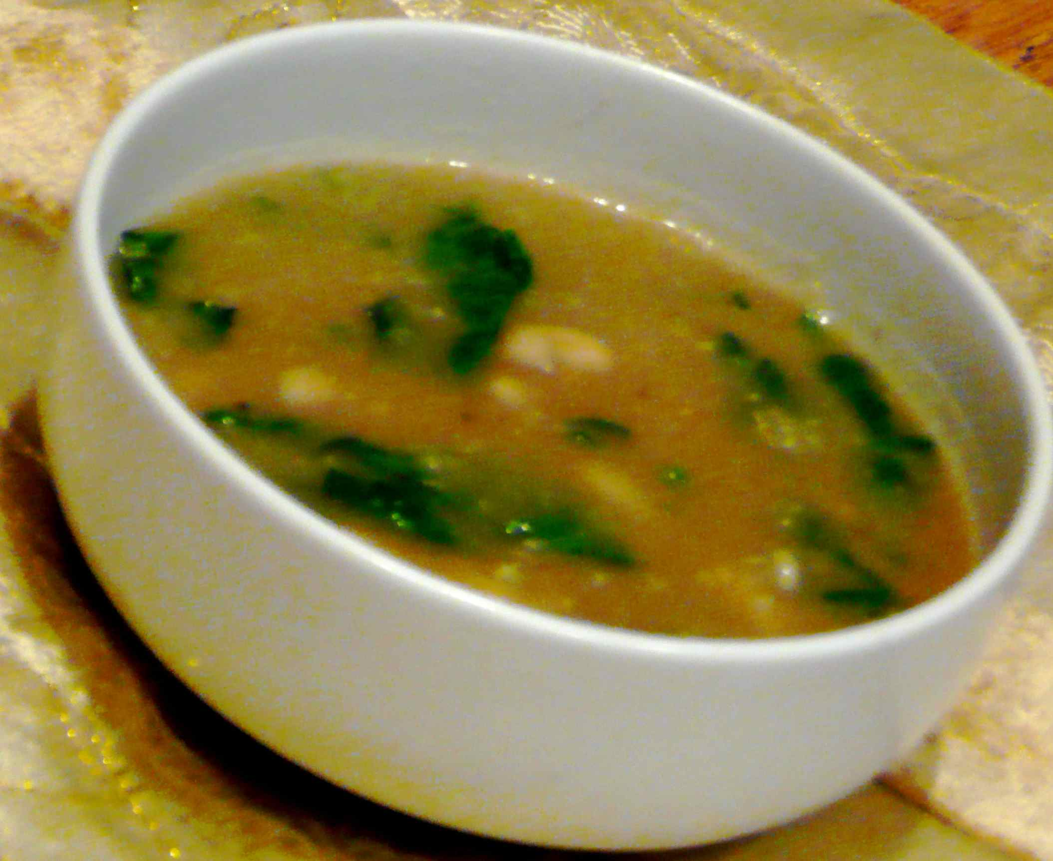 Roasted Eggplant Soup Recipe with Beans and Spinach